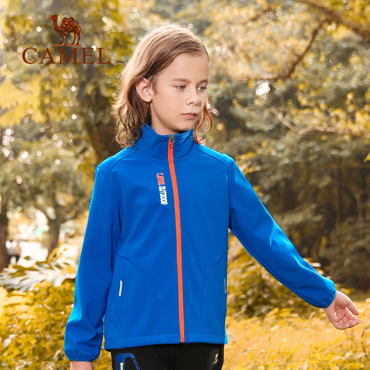 CAMEL camel autumn and winter children's soft shell clothes anti-splashing anti-static sportswear boys and girls warm coat