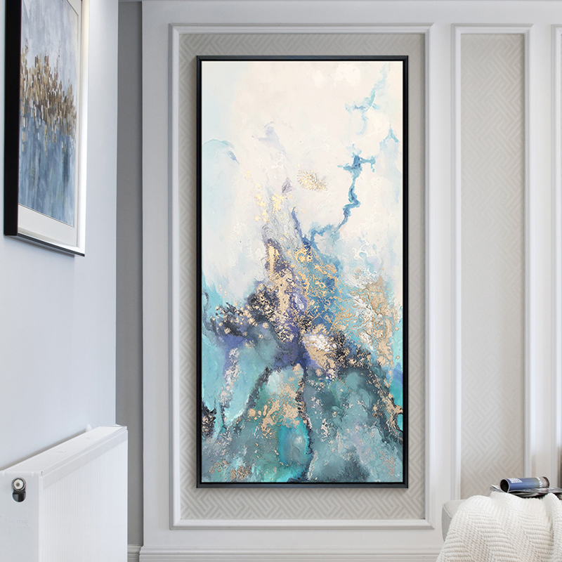 Hand-painted oil painting modern abstract porch corridor gold decoration vertical duplex living room hanging corridor murals