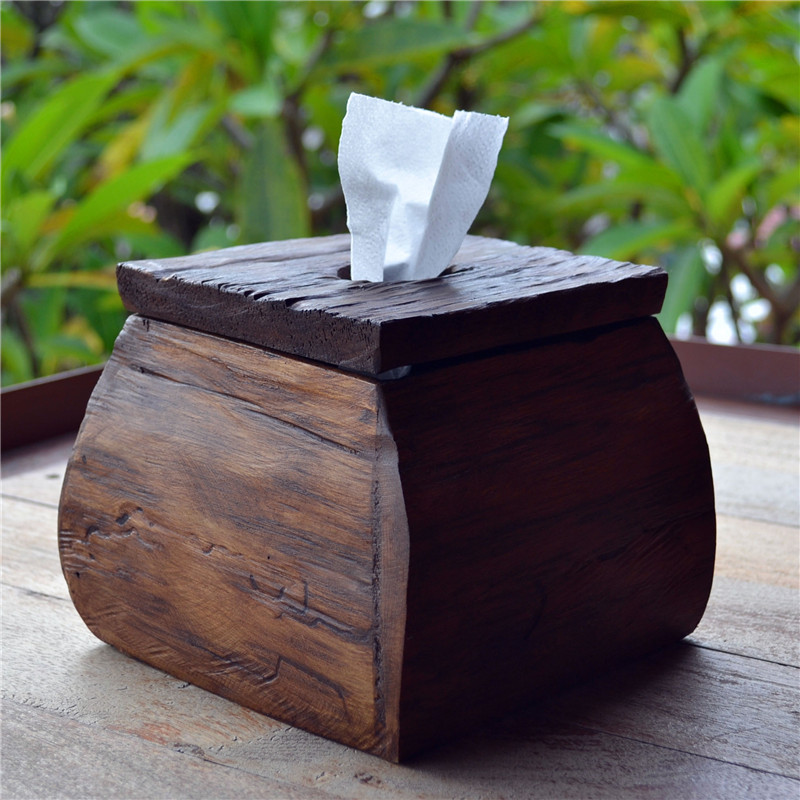 Thai Handmade Solid Wood Paper Towel Box Roll Paper Cylinder Desktop Home Hotel Creative Retro Paper Towel Home Decoration