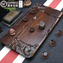整块黑檀木茶盘实木茶台 简约精雕家用茶海大号加厚排水功夫茶具