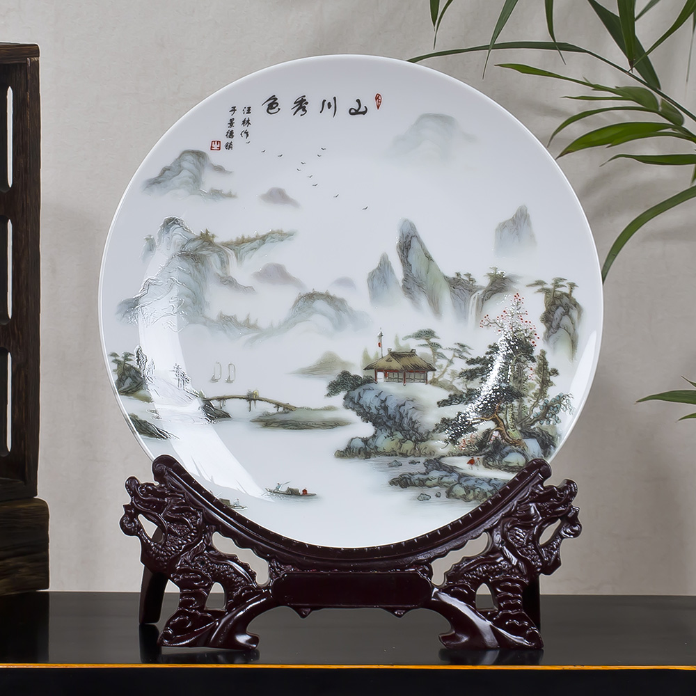 Jingdezhen Ceramic Decoration Porcelain Plate Pastel Landscape Painting Decoration Plate Hanging Plate Porcelain Plate Modern Classical Home Jewelry