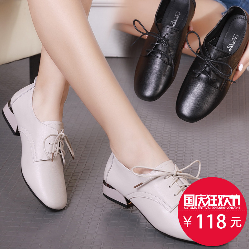Shoes Female Autumn 2019 New Rough-heeled Korean Single Shoes Female Genuine Leather Fashion Square Head Tie with 100 Sets of Low-heeled Female Shoes