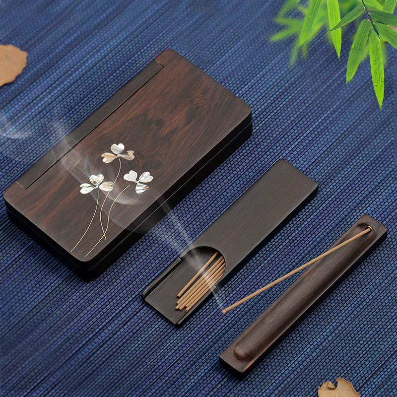 Hand-inlaid rosewood thread incense box Ebony Wood incense insertion sandalwood stove bedding incense stove solid wood portable incense board set
