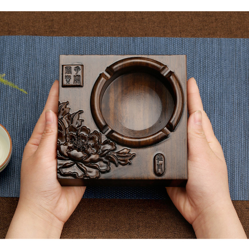 New Chinese style retro ashtray of ebony wood carving