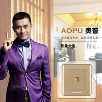 Authentic Op Switch AOPU Single Computer S6 Supreme Gloss Champagne Gold Wall Switch Socket Panel Packaging