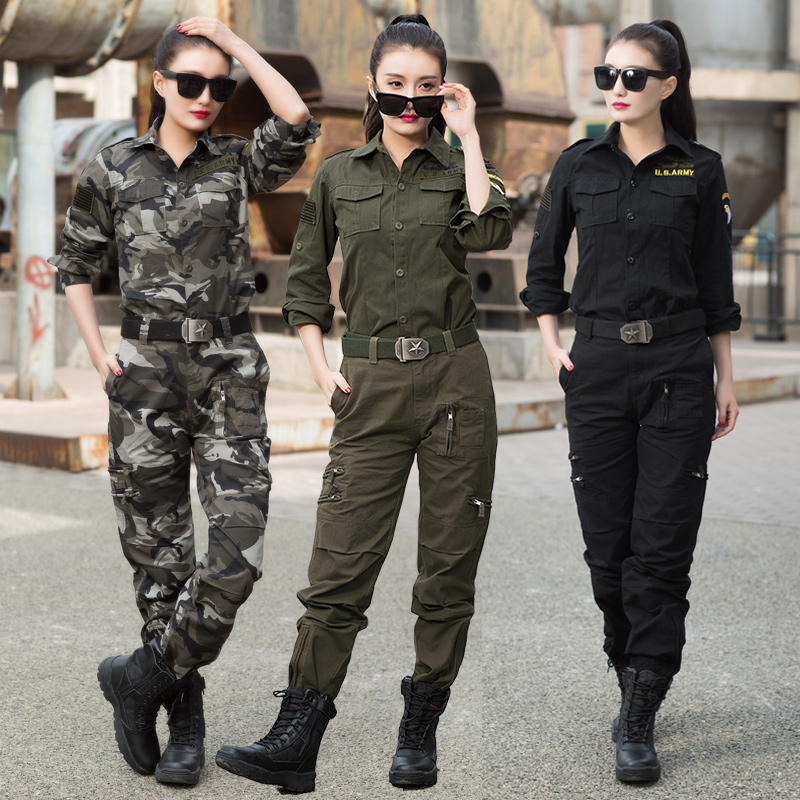 Outdoor camouflage suit female fashion military training uniform green 2019 new style Sailor Dance leisure two-piece suit autumn
