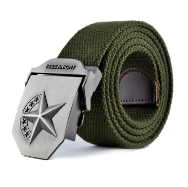 Free Knight Outdoor Thickened Canvas Belt Five Star Alloy Head Tactical Belt Smooth Buckle Lover Belt