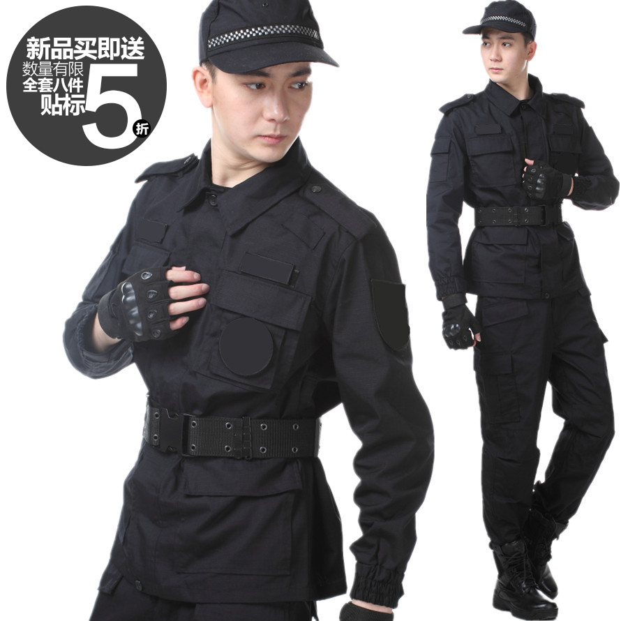99 authentic training clothes spring and autumn grid combat clothes property special training clothes new black security long sleeve training clothes