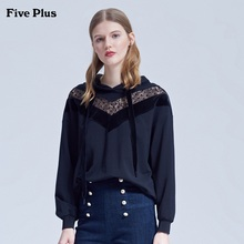Five Plus 2019 New Autumn Women's Dresses, Hats and Guards, Women's Loose Stitching Lace Pullovers, Long Sleeve Cotton