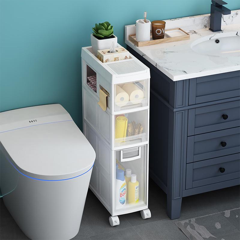 Étagère de salle de bain installation sans crevasse Salle de bain toilette plancher toilette Stockage Stockage côté armoire fournitures Daquan