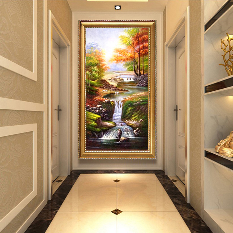 Oil painting hand-painted European-style porch decorative painting American landscape painting living room vertical print hanging corridor murals