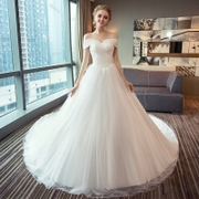 A long tail wedding dress wedding shoulder 2017 new bride wedding dress Princess and simple winter Qi