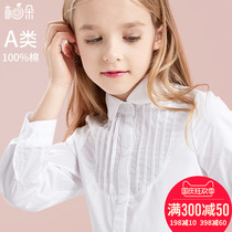 Girl shirt childrens white shirt cotton spring and autumn girl long-sleeved top foreign pie middle school uniform Korean version