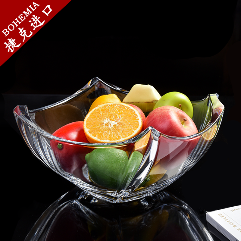 Czech Imported BOHEMIA Crystal Glass Fruit Plate Living Room Household Creativity Modern Simple Luxury European Marriage