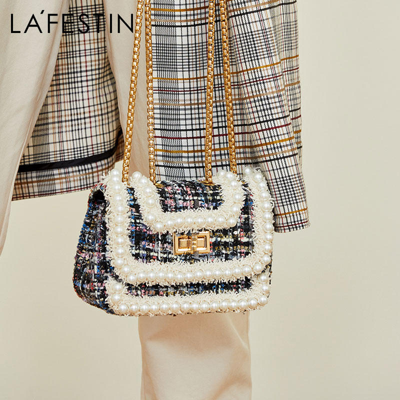 Rafitstin New Pearl Chain Small Square Bag Small Fragrant Wool Children Bag Name Yuanyuan Single Shoulder Slant Bag