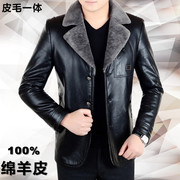 Haining leather fur collar middle-aged male Mens Suit Jacket with fleece jacket with thickened Dad
