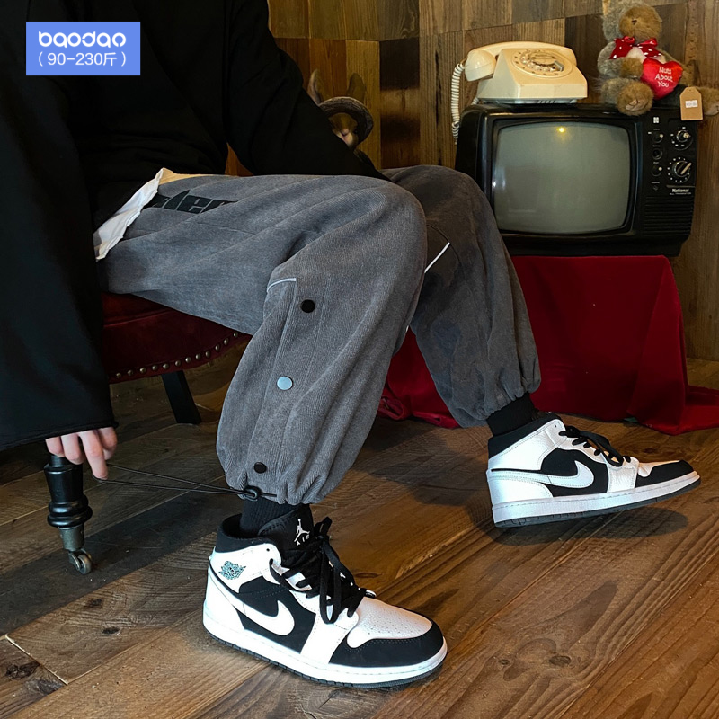 Button wick velvet pants mens Korean version of the trend autumn and winter port wind big size sweatpants loose-fitting casual trousers