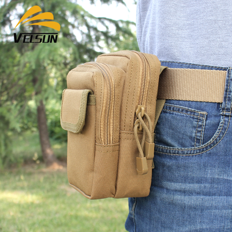 Velsun outdoor sports multi-purpose canvas tactical pockets for men and women 6 inch mobile phone wear belt running bag