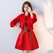2017 new winter clothes pregnant bride toast long sleeved red wedding dress thickening waist short Chinese female