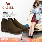 The camel shoes 2017 new British style simple ankle boots female comfort with zipper after short boots