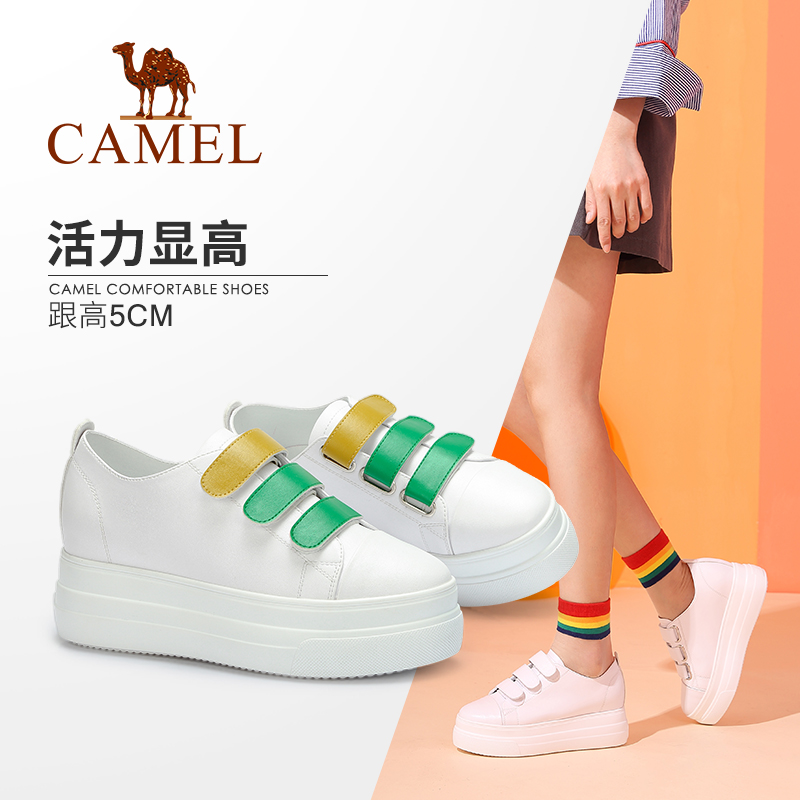 Camel women's shoes 2018 autumn new fashion casual Velcro comfortable round head single shoes thick white shoes women