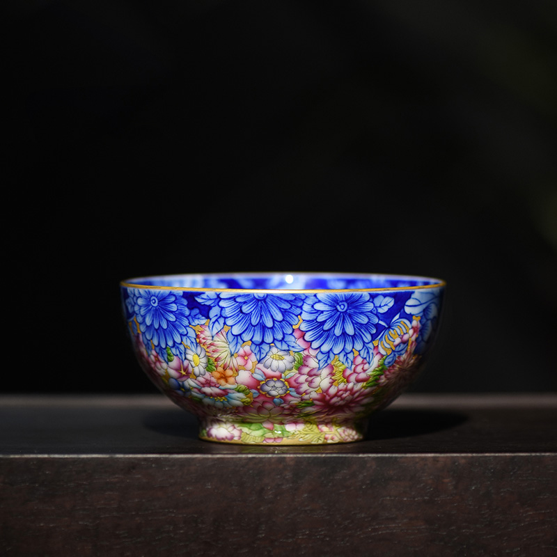 Jingjun Jingdezhen Ceramics Hand-painted Enamel Blue and White Handicraft Cup Teacup Master Cup