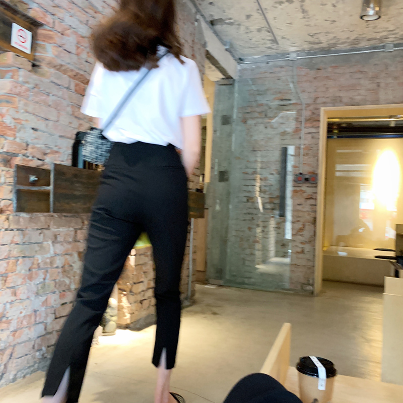 BIGYU thin into a paper piece of people spring and summer thin black pants straight small foot suit pants nine separate fork pipe pants