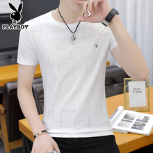 Playboy, T-shirt, short sleeves trend, summer round neckline, Korean stripes, stripes, summer clothes, T-shirt, men's wear.