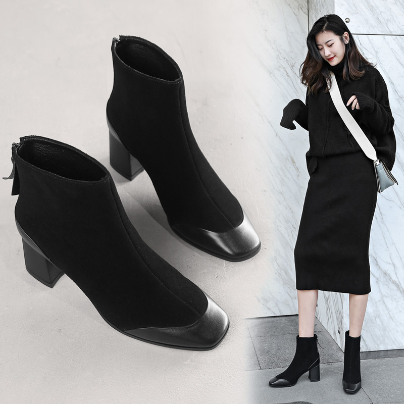 2018 autumn and winter new retro leather in the thick with ankle boots Martin boots square head fashion women's boots high-heeled shoes