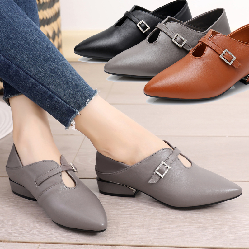 Fashion women's shoes children's 2019 new autumn all season small heel leather shoes thick heel pointed flat sole shoes