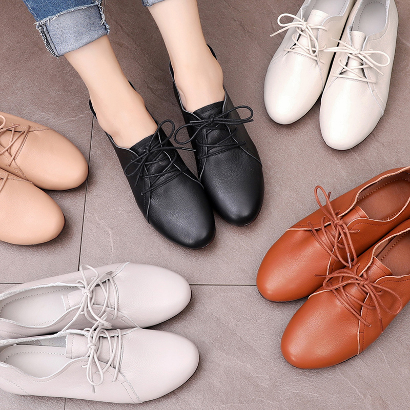 Autumn Grandma Shoes, Female Flat soles, Single Shoes, Fashion, Round Head Mother Shoes, Soft soles, Comfortable Leather Shoes