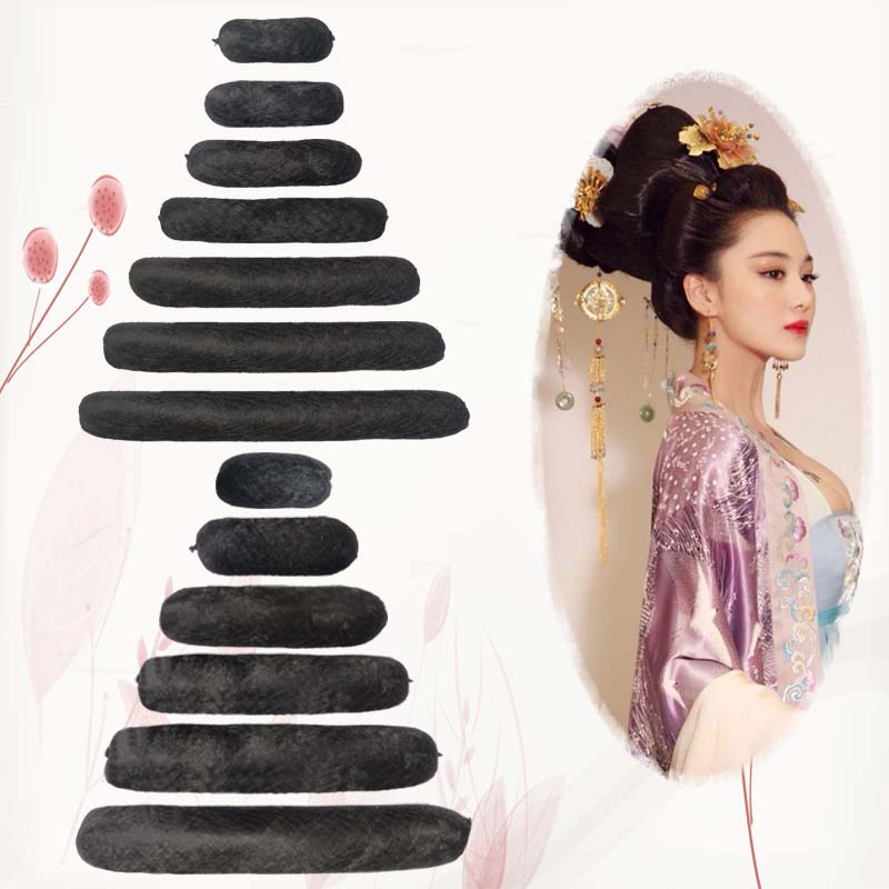 Round ox horn pad hair wig in ancient Chinese style full hair pad hair device children's pad hair soft hair stick cos
