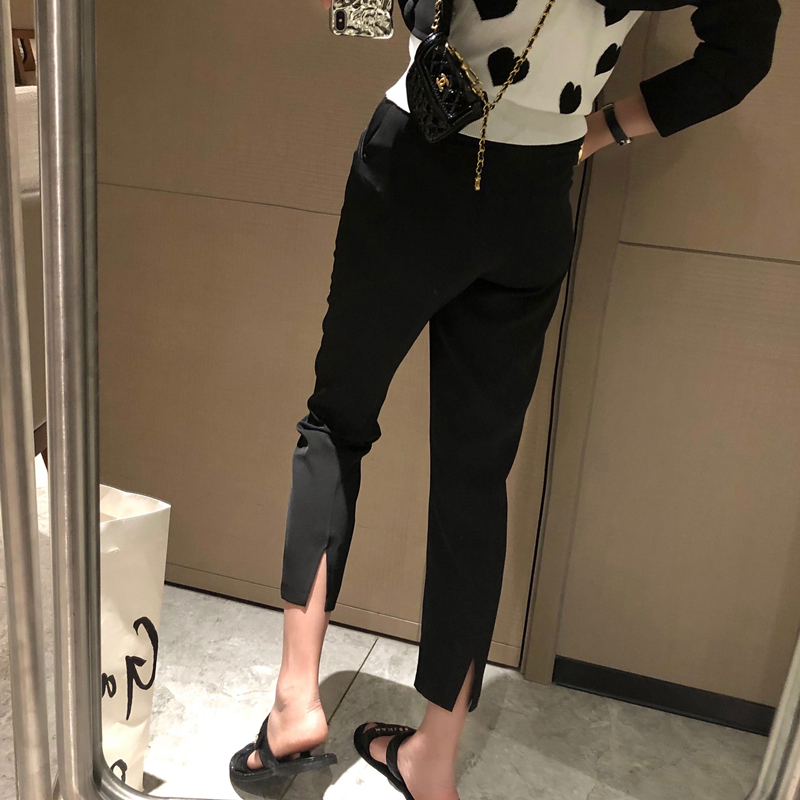 After opening fork straight nine-point suit pants women spring and summer hanging feeling high waist thin small open casual small feet pants