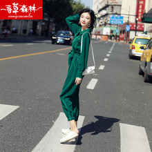 Joint pants women's new spring and autumn 2019 high waist, slim, casual, loose straight barrel and foot-binding overalls suit