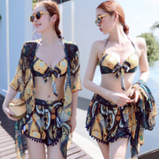 Split three piece swimsuit female bikinis Korean small fragrant small chest gather cover belly thin hot sexy conservative