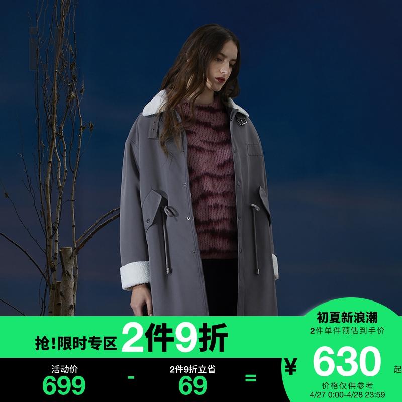 it b ab female lapel long coat winter fashion personality imitation lamb wool stitching cotton clothing 1259JF