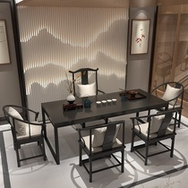 Solid wood tea table Light luxury black simple meeting table and chair combination office new Chinese tea table Tea room special