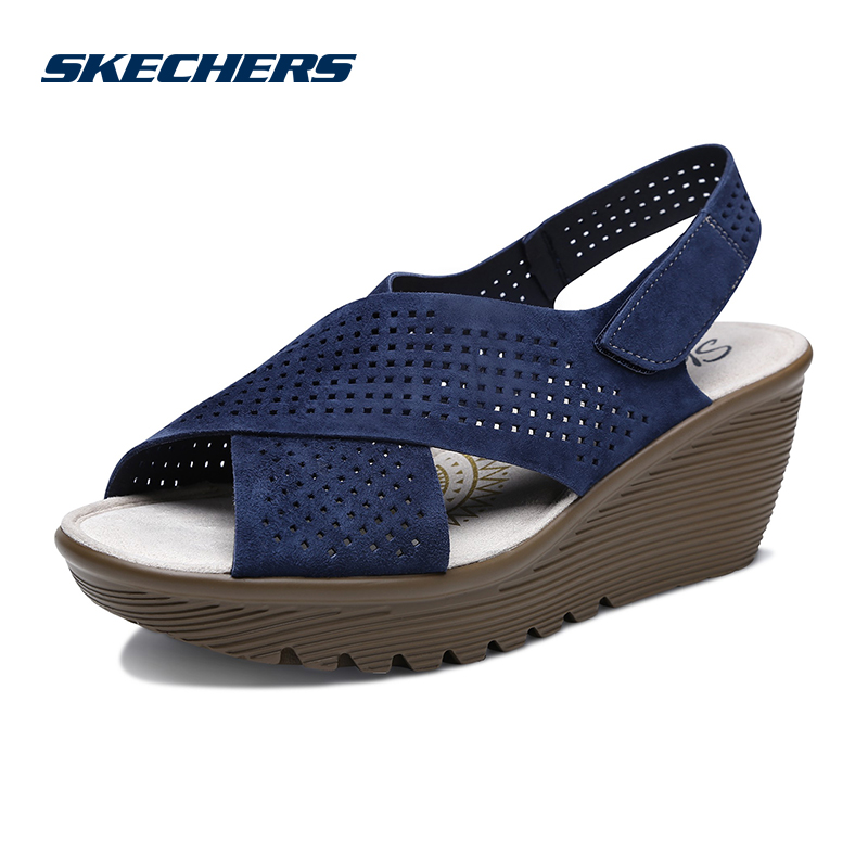 Skechers Skechers New Wedges Velcro Sandals Leather Fashion Casual Shoes 48861