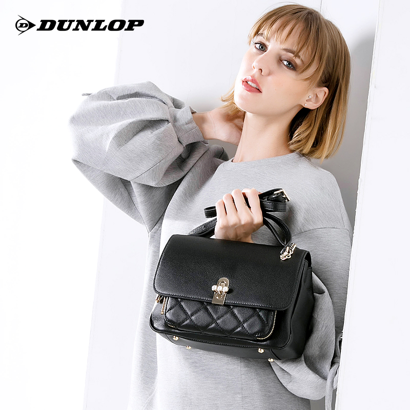 Dunlop's Skewed Bag, Women's Bag, True Leather Bag, New Style Westernized Head-Layer Cotton Leather Single Shoulder Handbag, 2019