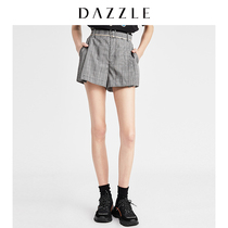 DAZZLE Prime 2019 summer new retro pleated worsted plaid waist casual shorts female 2g2q1123e