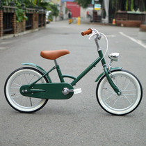 Custom-made British ink green ancient childrens bicycle 16 inch simple medium and large childrens bicycle with lamp auxiliary wheel