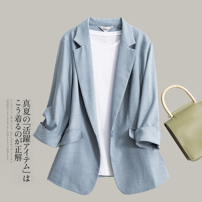 Spring and summer new Korean version of Tencel linen Blazer coat women's black seven sleeve slim suit women's top