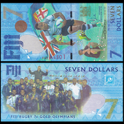 The new UNC Fiji 7 yuan Rio Olympic Football Championship commemorative 2017 AU prefix notes