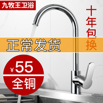 Nine animal husbandry kitchen faucet wiredrawing copper hot and cold home 304 stainless steel sink wash basin single cold tap