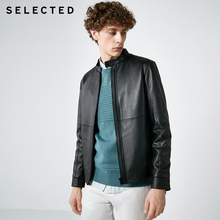 SELECTED Sladeqiu Men's Standing Collar Sheep Leather Zipper Jacket Leather Coat S418310510