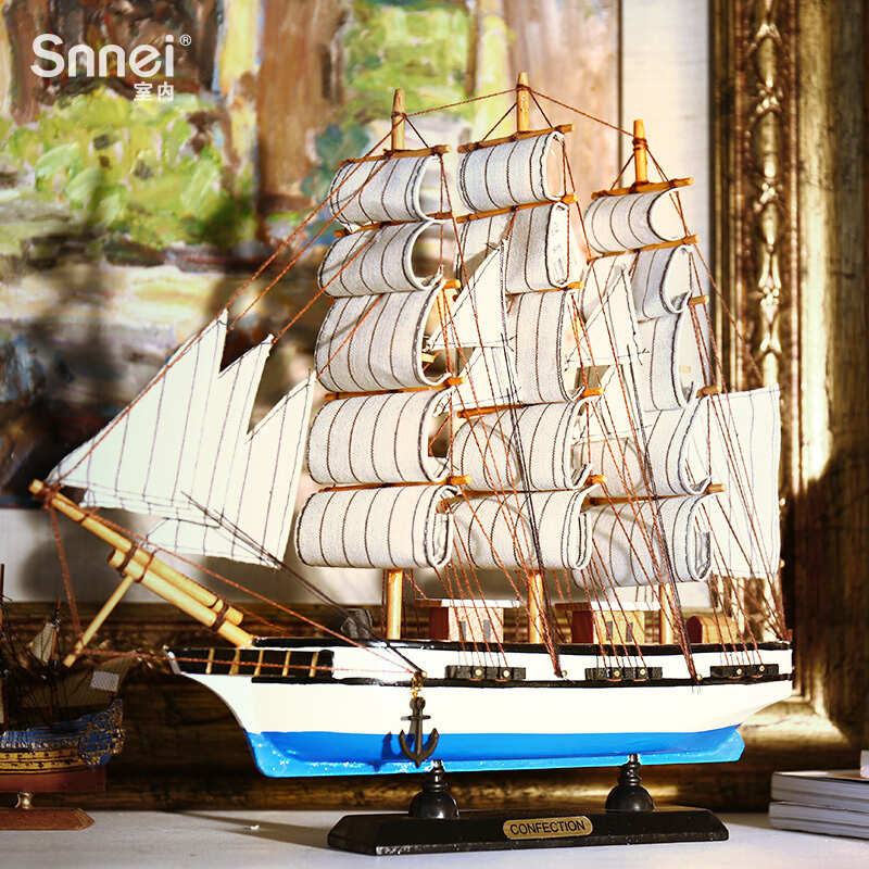 Solid Wooden Sailing Model Decoration Craft Ship Gift Mediterranean Simulated Wooden Boat
