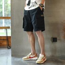 Tide brand tooling casual shorts mens summer 2021 new outer wear black loose all-match trend ins five-point pants