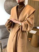 Double-sided cashmere coat womens long model autumn and winter 2021 new high-end hooded loose wool woolen jacket