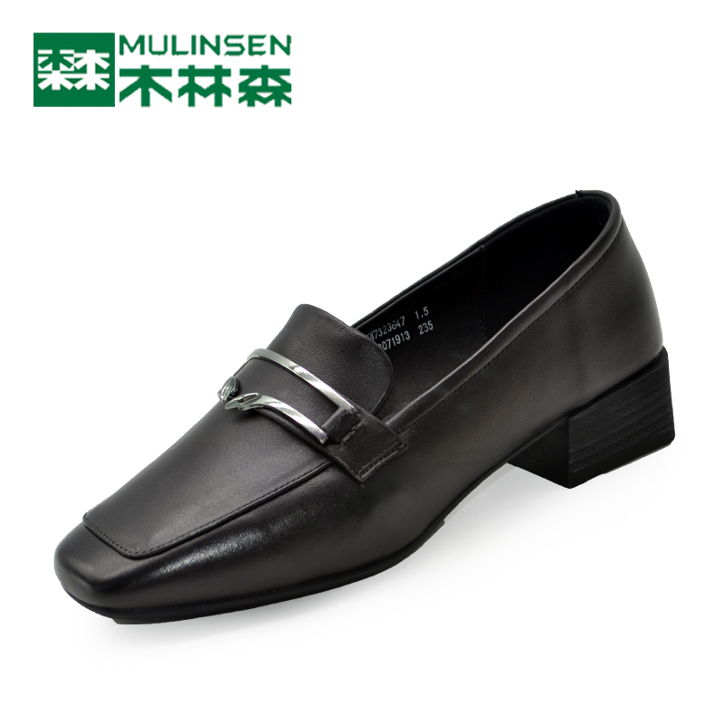 Mulinsen Women's Shoes Fall 2018 Low-heeled Women's Single Shoes Fashion Square Head Work Shoes