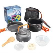 En plein air 1-2-3 set pot portable poêle pot ensemble pique-nique poêle pot multi-usages ustensiles de cuisine non-bâton